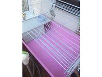 Pink Indoor rabbit / guinea pig cage