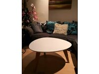 Large White with Brown legs Coffee Table Excellent Condition