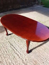 Oval coffee table.