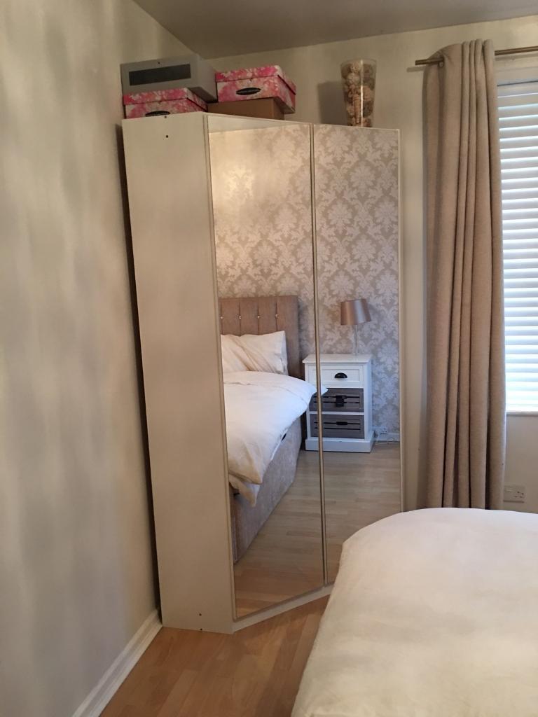 White mirrored corner wardrobe excellent condition in for 1 door mirrored corner wardrobe