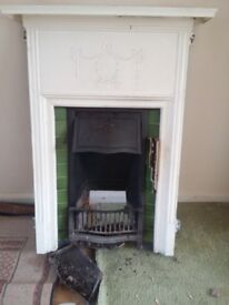 Old Open Fireplace 1930's house + wooden surround