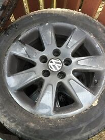5 stud black vw alloys