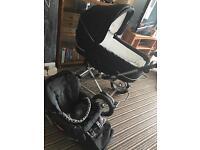 Emmaljunga black pram & pushchair combo