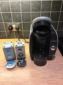 Bosch Tassimo coffee machine with cappuccino and espresso pods