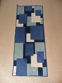 "Blue and Cream Rectangles 59"" Long X 23.5"" Wide Rectangular Indoor Door Runner Door Mat"