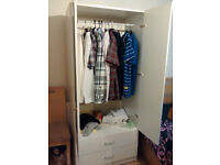 Medium Size Double Door Wardrobe with Mirrors and draws in White