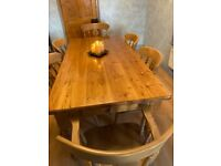 Waxed Pine Farmhouse Dining Table & Chairs
