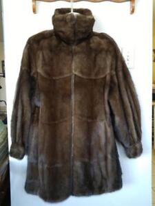 MINK COAT Hudson BAY CO Womens 14 16 L XL Petite MINK SWING JACKET COAT Winter Cold-stored Zip HBC Real Fur Brown