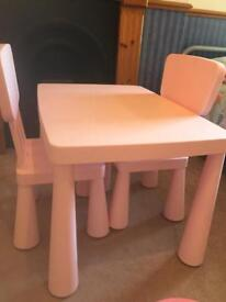Pink Plastic table and chairs from ikea NOW £7.50!