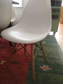 FOUR White Eiffel Style dining chairs