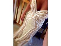 Beautiful wedding/formal dress embilished gold silk satin