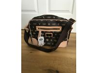 LYCD London cross over body bag, chocolate brown and cream
