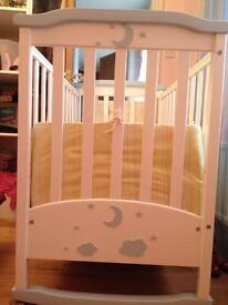 Rocking cot bed with attachable wheels, under bed storage+all accessories