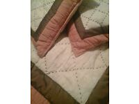 Laura ashley quilted bedcover or sofa throw with matching cushions