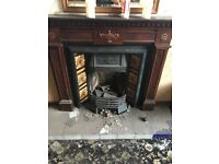 Victorian cast iron Gas fireplace with wood mantle piece surround