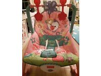 pink baby girl fisher price rocker 20pounds and a lot of cloths free to go