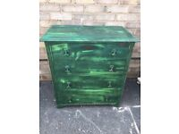 CHEST OF DRAWERS RUSTIC GREEN PAINTED FARMHOUSE COUNTRY STYLE