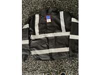 Black hi viz padded work jacket size m