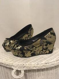 Office wedge shoes gold 4