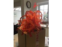 Orange & Red satin & feather stunning Fascinator by Maighread Stuart Millinery - handmade