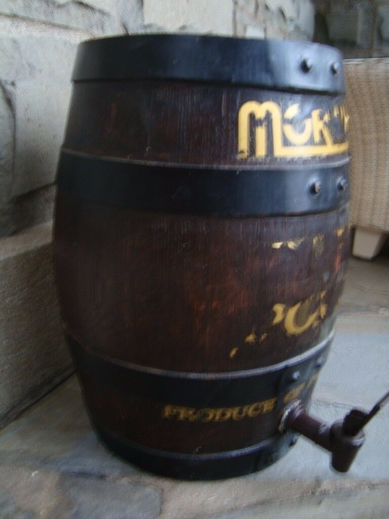 Vintage Collectable Wooden Wine Barrel With Tap Stands 14 Inch
