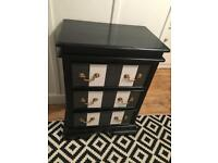 Bespoke black and white small chest of drawers