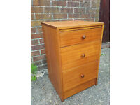 Vintage Retro Mid Century Teak Bedside Cabinet Chest of Drawers Shabby Chic