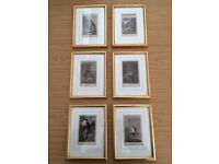 Set of six Victorian prints in matching gold frames