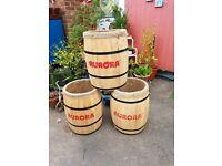 3 x wooden barrels ..great for plant pots..