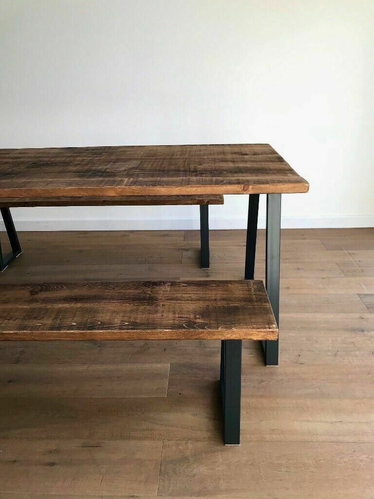 Rustic Wood Industrial Reclaimed Steel Oak Pine Metal Kitchen Dining Table Benches