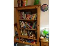 Extra wide tall corona bookcase pine