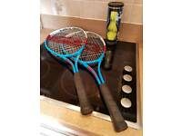 2 slazenger tennis rackets and 3 Dunlop balls