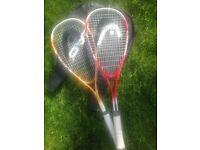 2 Head Squash racquets
