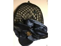 Navy fascinator with gold detail