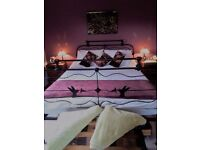 King Size Antique Cast Iron Bed - Beautiful antique bed, with humming bird feature in design