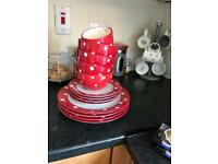 Red and White polka dot dinner set