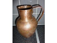 Large Vintage Hammered Copper Water Jug / Pitcher