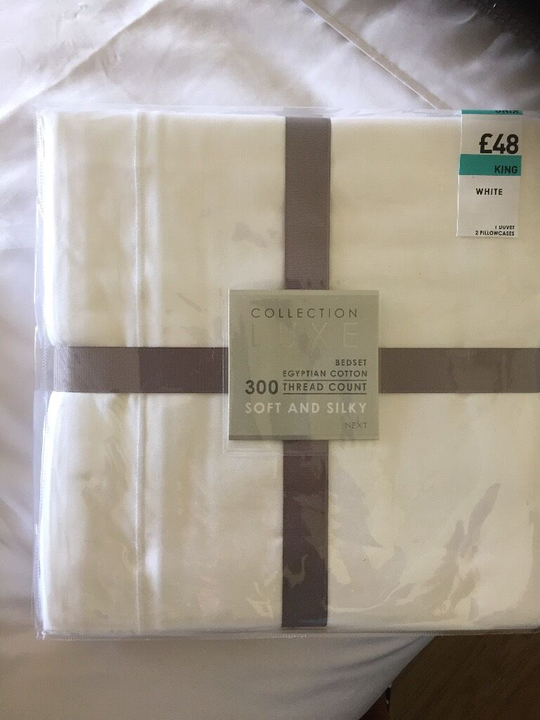 king size bed setsin East End, GlasgowGumtree - 2 x king size bed sets, Egyptian cotton white with matching pillowcases. Never been used. One is £30 (bought for £60) Second one is £25 (bought for £48)