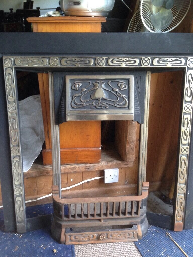 Cast Iron Silver and Black Fire Place - Victorian (Reproduction)