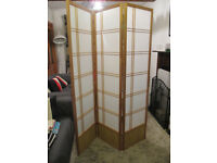 1 x Akio Room Divider Screen with 3 Panels - Natural Timber frame with Washi paper panels