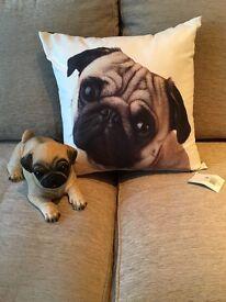 Pug cushion and pug ornament