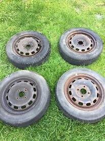 "4 Steelies with tyres 14"""