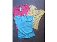 3 tops size 12 = Papaya - white, coral, yellow - new with tags