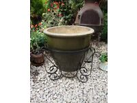 Large Glazed Planter in Wrought Iron Stand.