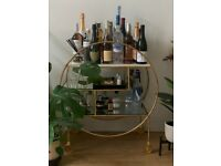 Oliver Bonas Luxe Round Bamboo Gold Drinks Trolley Bar Cart RRP £395