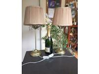 Pair table lamps bedside lamps with shades in gold