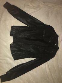Black womans leather look jacket/black biker jacket size 8/US2
