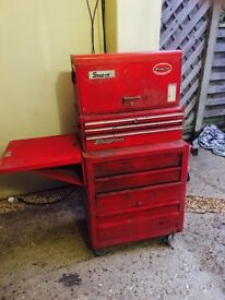 Snap-on tool roll cab,sub box and top box plus side shelf.