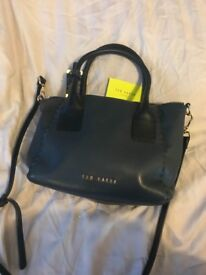 Ted baker navy leather handbag