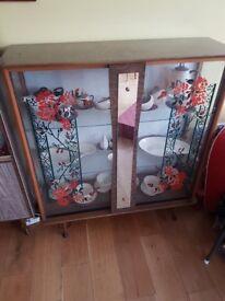 Vintage 1950/1960 display cupboard cabinet, retro